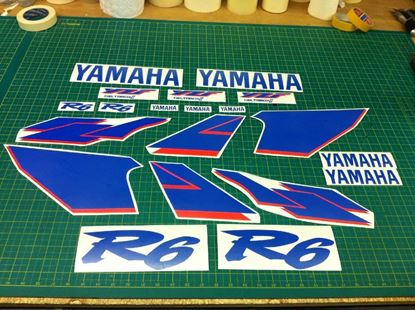 Picture of Yamaha YZF R6 600 1999 - 2001 replacement fluorescent red  Decals /Stickers