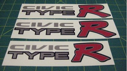 Picture of Honda Civic EK9 Type R custom side and rear Decals / Stickers  for lighter paint