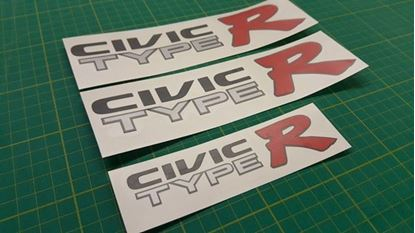 Picture of Honda Civic Type R EK9  side and rear Decals / Stickers for dark paint