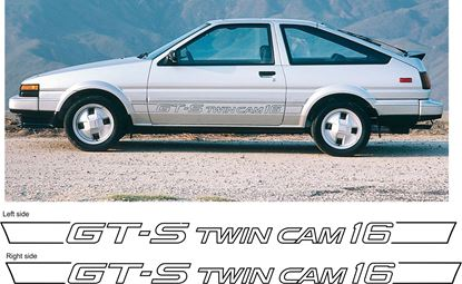 Picture of Toyota Corolla AE86 GT-S GTS twin cam 16v side replacement restoration decals stickers 1984 - 1987