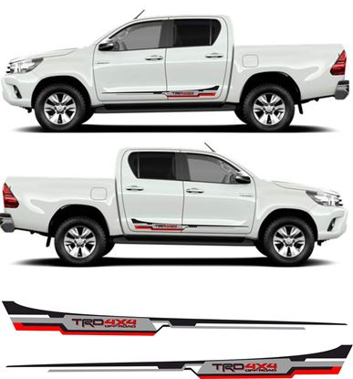 "Picture of Toyota Hilux MK6 / 7 /  8 ""TRD 4x4"" Side stripes Decals / Stickers AN101 AN20 AN120 AN130"