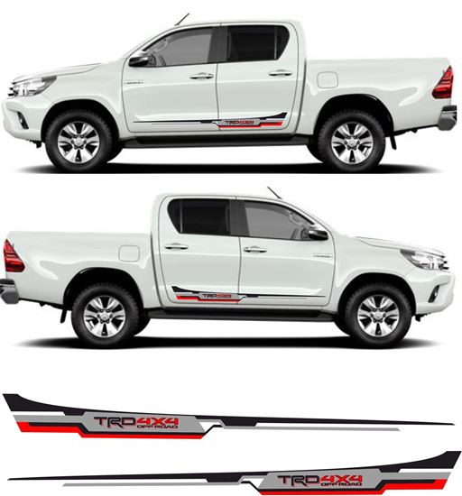 """Picture of Toyota Hilux MK6 / 7 /  8 """"TRD 4x4"""" Side stripes Decals / Stickers AN101 AN20 AN120 AN130"""