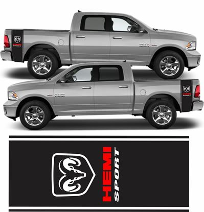 "Picture of Dodge Ram ""Hemi Sport"" Side bed Stripes / Stickers"