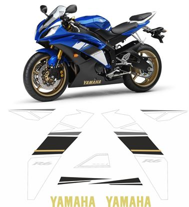 Picture of Yamaha YZF R6 Blue 2009 Replacement Decals / Stickers