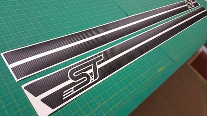 "Picture of Ford Fiesta ST MK6 Custom Design ""ST"" Carbon Fibre Side stripes / Stickers"