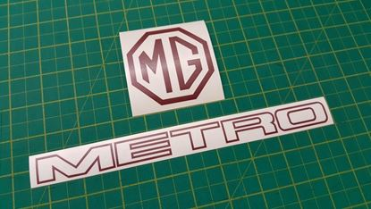 Picture of MG Metro replacement rear hatch Decals / Stickers- RED PAINT