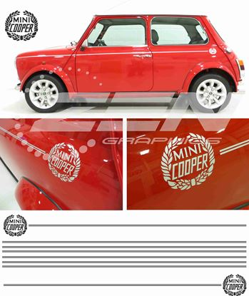Picture of Classic Mini Cooper replacement side Decals  & pin Stripes