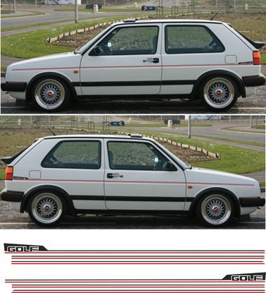 """Picture of MK2 Golf side Stripes and rear quarter """"Golf"""" Stickers / Stripes  (Two colour)"""