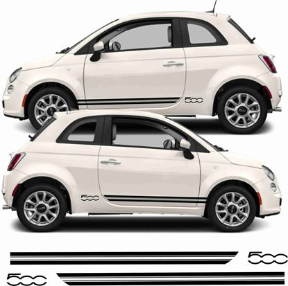"Picture of Fiat  500 Side Stripes & ""500"" Stickers"