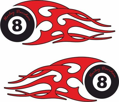 Picture of Harley Davidson 8 Ball panel / Tank  Decals / Stickers
