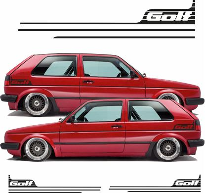 Picture of VW MK2 Golf side Stripes and rear quarter Stickers / Stripes