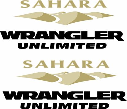 "Picture of Jeep ""Sahara Wrangler Unlimited"" side fender replacement Decals / Stickers"
