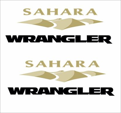 "Picture of Jeep ""Sahara Wrangler"" side fender replacement Decals / Stickers"