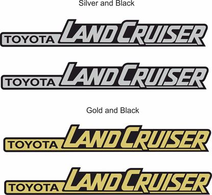 "Picture of ""Toyota Land Cruiser"" side replacement Badge Decals / Stickers"