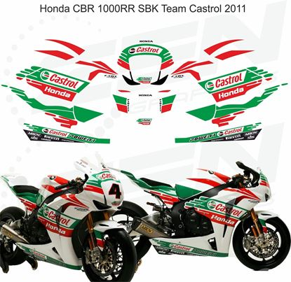 Picture of Honda CBR 1000RR 2011 Team Castrol superbike replica Decals / Stickers