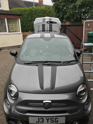 Picture of Fiat 595 / 500 Abarth Carbon fibre Scuderia OTT Stripes Decals  / Stickers
