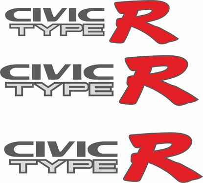 Picture of Honda Civic EK9 Type R replacement side and rear Decals / Stickers for lighter paint