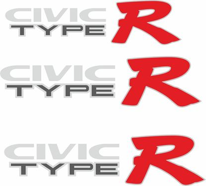 Picture of Honda EK9 Civic Type R replacemet side and rear Decals / Stickers for Darker paint