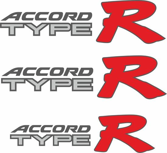 Picture of Honda Accord Type R Replacement side and rear Decals / Stickers for darker paint  for lighter paint