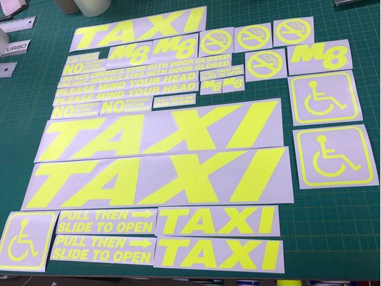 Picture of Mercedes Vito M8 Taxi Minicab FLOURESCENT Graphics / Stickers / Decals