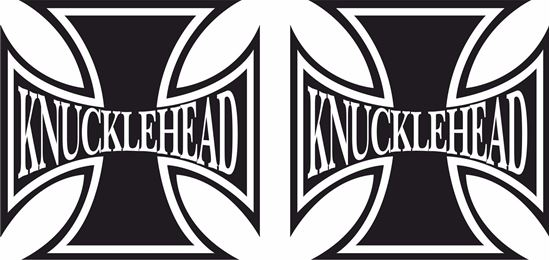 """Picture of Harley Davidson """"Knuckle Head Head"""" Cross Tank / Panel Decals / Stickers"""