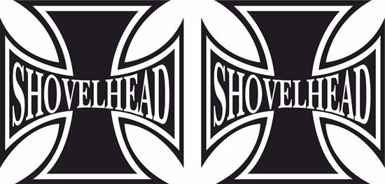 "Picture of Harley Davidson ""Shovel Head Head"" Cross Tank / Panel Decals / Stickers"