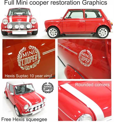 Picture of Classic Mini Cooper restoration Decals / Pin Stripes / Bonnet stripes
