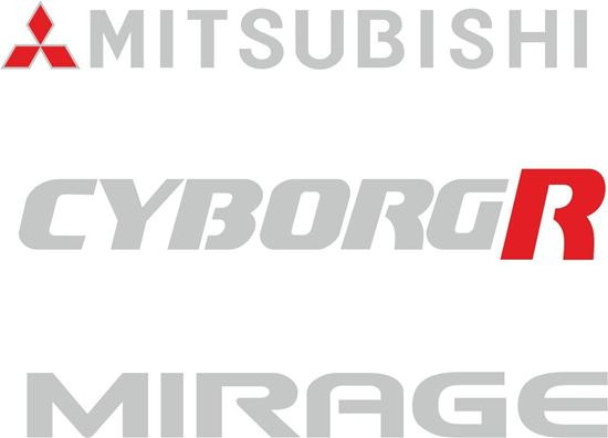 Picture of Mitsubishi Mirage Cyborg R Replacement rear  Decals / Stickers
