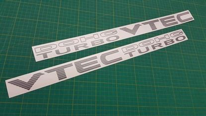 "Picture of Honda Civic MB3 / EK / EG / EF  Custom ""DOHC Vtec Turbo"" side Decals / Stickers"