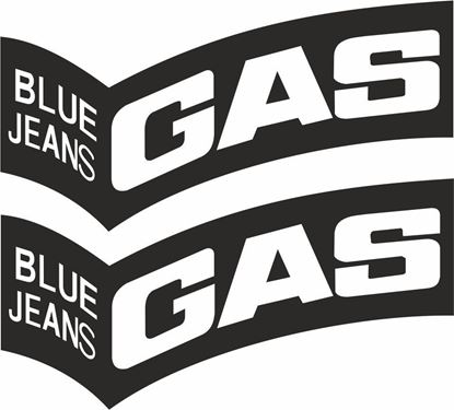 """Picture of """"Gas Blue Jeans"""" Track and street race sponsor logo"""