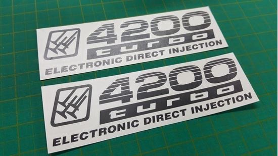 """Picture of Toyota Prado / Land Cruiser 100 series """"4200 Turbo...""""  side replacement Decals / Stickers"""