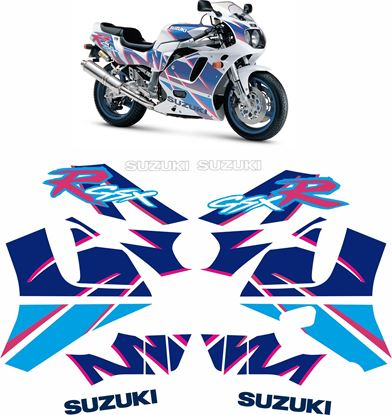 Picture of SUZUKI GSX-R 750 1991-1992 White / Blue bike  replacement Decals / Stickers