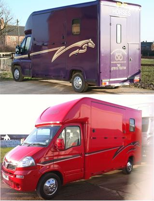 Picture of 3.5 ton Horsebox Racing horse Stripes / Stickers TWO COLOUR