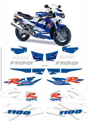 Picture of suzuki GSX-R 1100 1995 White / Blue bike  replacement Decals / Stickers