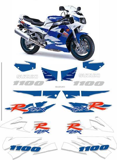Picture of suzuki GSX-R 1100 1995 White / Blue bike  replacement Decals / Stickers