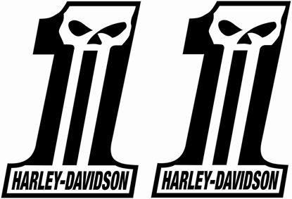 "Picture of Harley Davidson ""1"" panel / Tank  Decals / Stickers"
