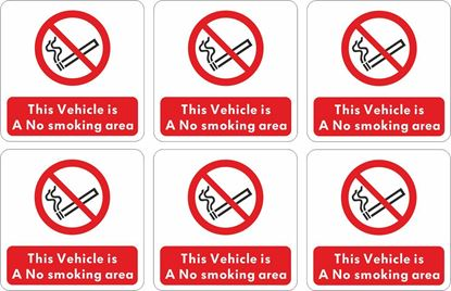 "Picture of Bus / Coach  ""No Smoking"" X8 @ 95mm  Stickers"