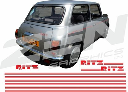 "Picture of Mini replacement side & rear ""Ritz"" Decals and Stripes"