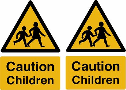 "Picture of Bus / Coach  ""Caution Children"" Stickers"