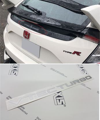 "Picture of Honda Civic FK2 /FK8 ""Vtec Turbo"" rear Glass Decal /  Sticker"