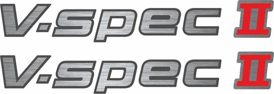 """Picture of Nissan Skyline R33 / R34  replacement brushed-silver-  """"V-Spec II"""" rear / hatch  Decal / Sticker (1 spare)"""