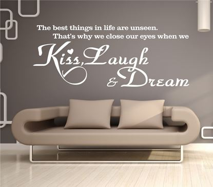 "Picture of ""Kiss, Laugh & Dream""  Wall Art sticker"