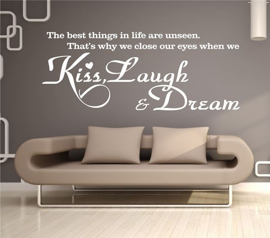 """Picture of """"Kiss, Laugh & Dream""""  Wall Art sticker"""