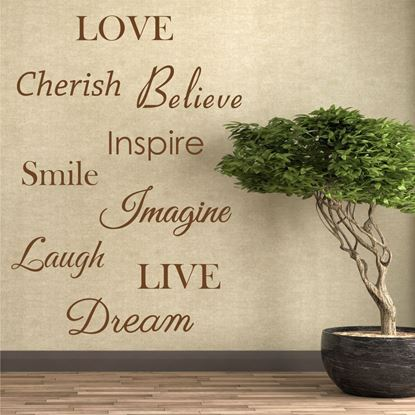 "Picture of ""Love, Cherish Believe, Smile...""  Wall Art sticker"