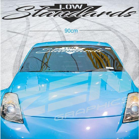 Low Standards Sun Strip Visor Motorsport Windshield Banner Decal Sticker JDM