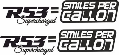 "Picture of Mini  ""R53 = Smiles per Gallon"" pulley Decals / Stickers"