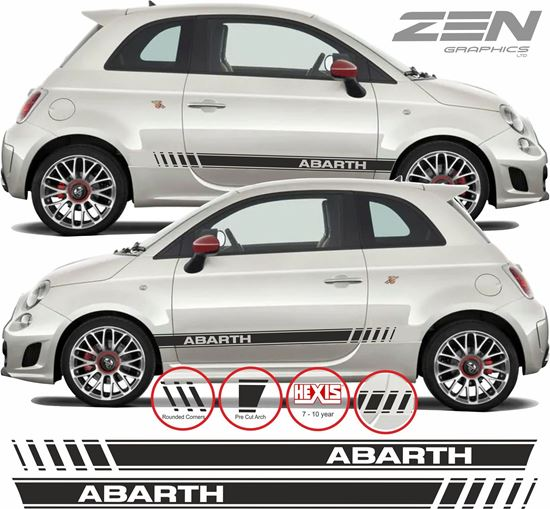 Zen Graphics Fiat 500 595 Abarth Side Stripes Stickers