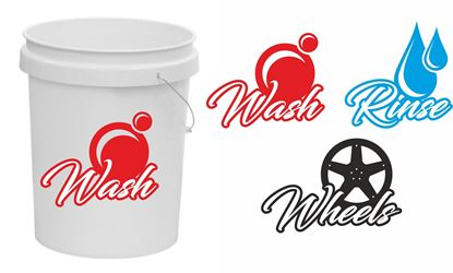 Picture of Wash - Rinse - Wheels Bucket Decals / Stickers