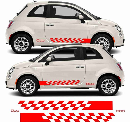 """Picture of Fiat  500 Side Stripes  & """"500"""" Decals Stickers"""