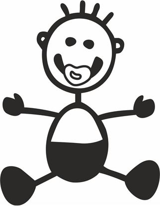 "Picture of My Stick Family  ""Baby Boy""  Figure  Sticker"